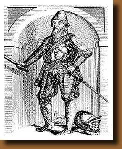 Johan Rantzau who finally crushed the peasants rebellion 18 December 1534 when their last stand Aalborg in Northern Jutland fell. He holds his field marshall rod in his right hand.