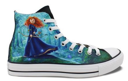 Womens Converse High Top Shoes Merida Princess Hand Painted Artw
