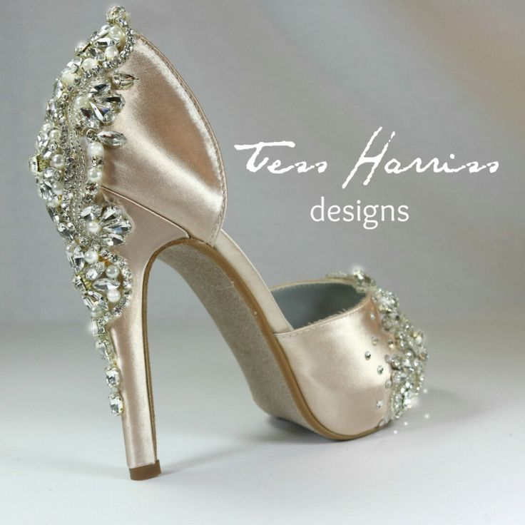 Sparkling champagne wedding shoes with lots of sparkling details.