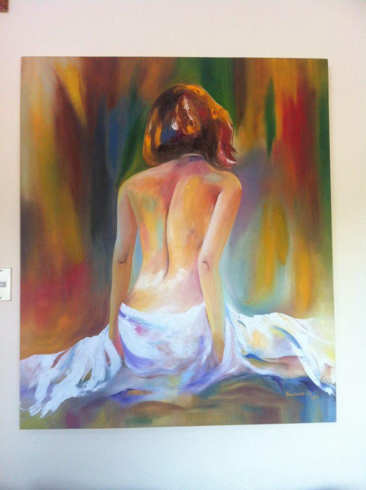 Mujer sentada de espalda, óleo sobre tela
