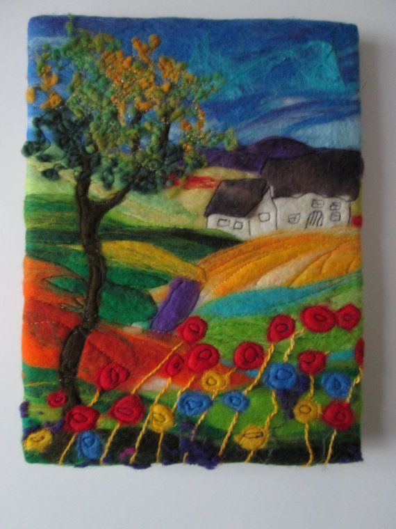 abstract tree landscape felt art felt by SueForeyfibreart on Etsy, $60.00