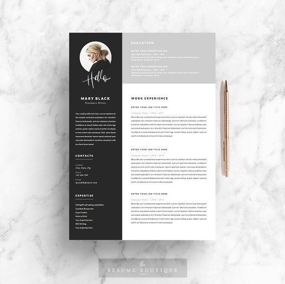 5 page Resume Template | Blackie by The.Resume.Boutique on @creativemarket Professional, modern, stylish and creative resume design template for your new job. Use this simple ready to use layout – only add a picture, your profile and your skills – or grab some ideas.