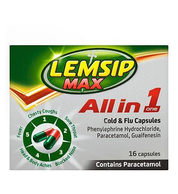 Lemsip Max All In One Capsules - 16s 10093685 16 Advantage card points. For the symptomatic relief of cold and flu.See details below, always read the label.Suitable for: Adults and children 12 and overActive ingredients: Paracetamol, Phenylephrin http://www.MightGet.com/february-2017-1/lemsip-max-all-in-one-capsules--16s-10093685.asp