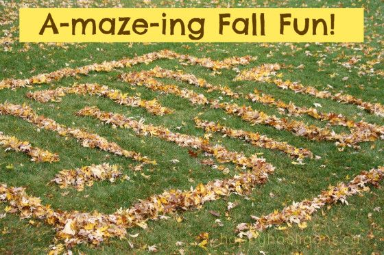 Leaf Maze - happy hooligans - fall leaf play, outdoor family activity, great for discussing seasons and colors!