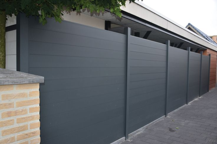 Dark grey/black/charcoal privacy fence Landscape and