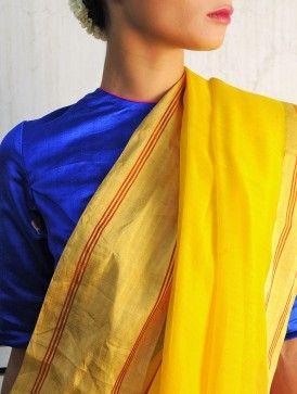 Rangeen Yellow Chanderi Handwoven Saree By Raw Mango