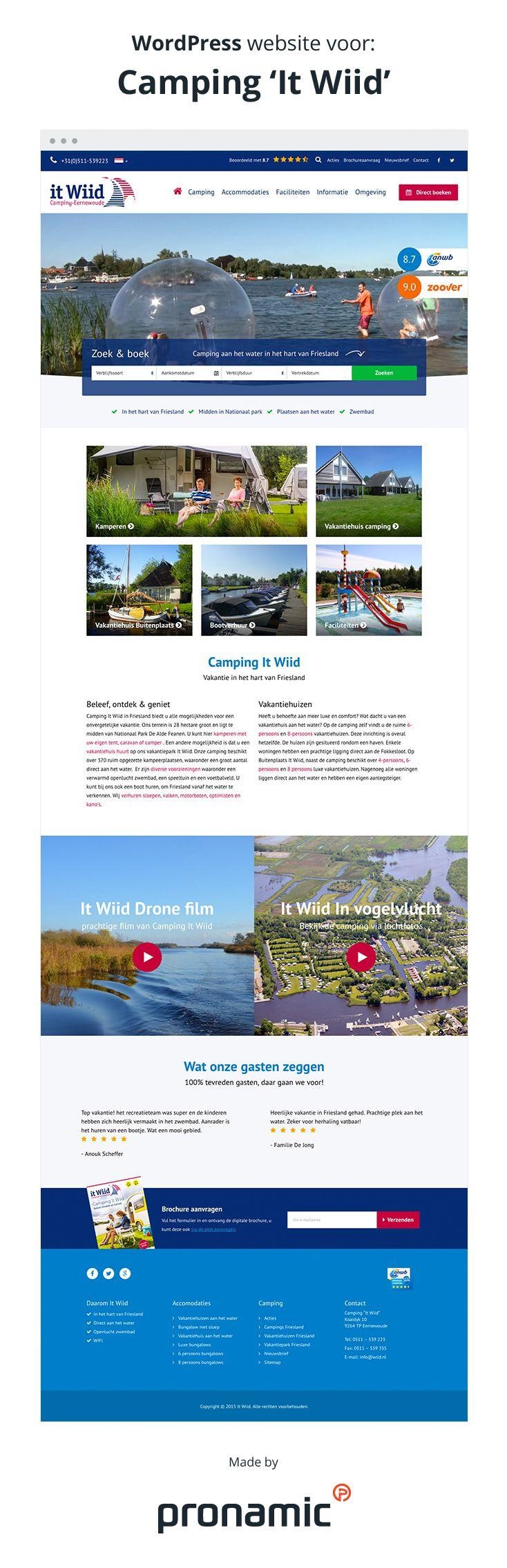 Camping It Wiid is een camping in hartje Friesland met uitstekende faciliteiten kampeerplaatsen aan het water en goede reviews.  Deze unieke kwaliteiten willen ze ook graag online tonen. Pronamic kreeg daarom de opdracht om een geheel nieuwe WordPress website te ontwikkelen die zowel de gewone bezoeker als de mobiele bezoeker kan overtuigen van deze unieke kwaliteiten.