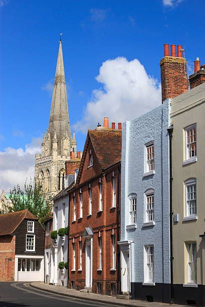 Chichester Cathedral behind terraced housing, West Sussex, England