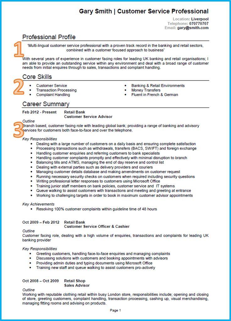 Customer service CV example written in Microsoft Word