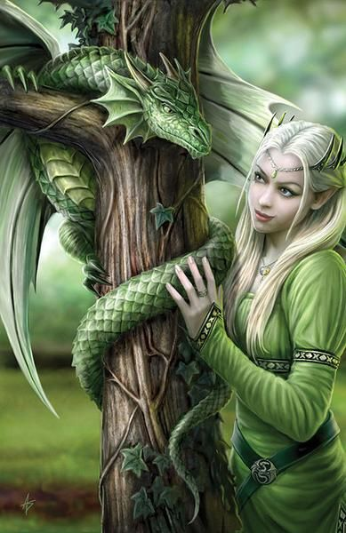 Kindred Spirits Dragon Greeting Card Anne Stokes | Elf Maiden with Dragon Greeting Card