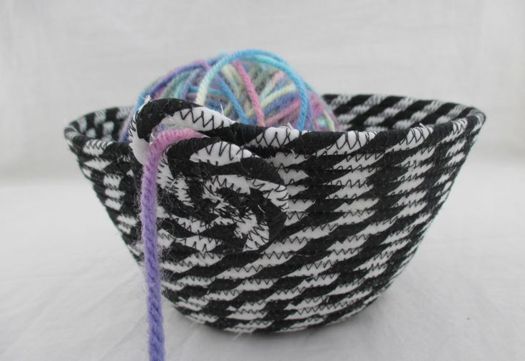 Handmade Fabric Wrapped Clothesline Coiled and Machine Stitched into a Knitting, Crochet, Yarn Bowl, Portable Craft Container by njbBasketofJewels on Etsy https://www.etsy.com/listing/223935661/handmade-fabric-wrapped-clothesline