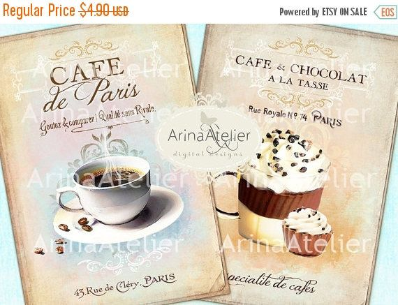 SALE - 30%OFF - Cafe de Paris Cards- Large Images - Backgrounds - 5x7 inch - Digital Print - Ephemera Sheet - to print on- Tote, Bags, t-shi