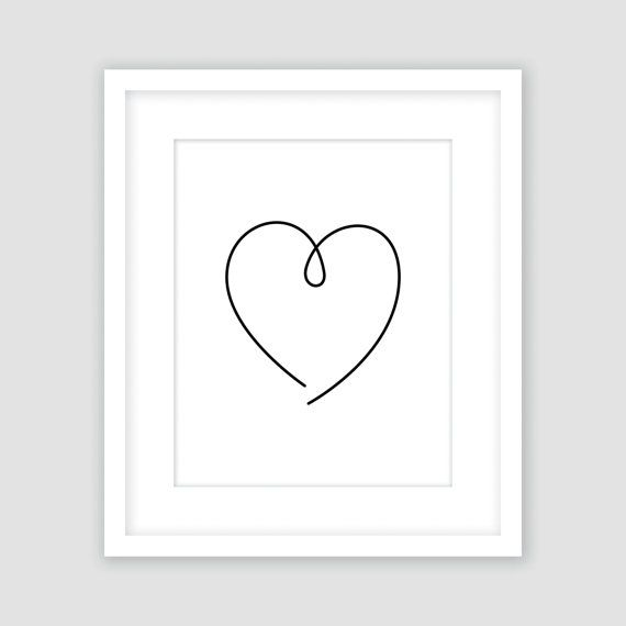 Heart Print Black and White Wall Art Doodle von italicsandcapitals