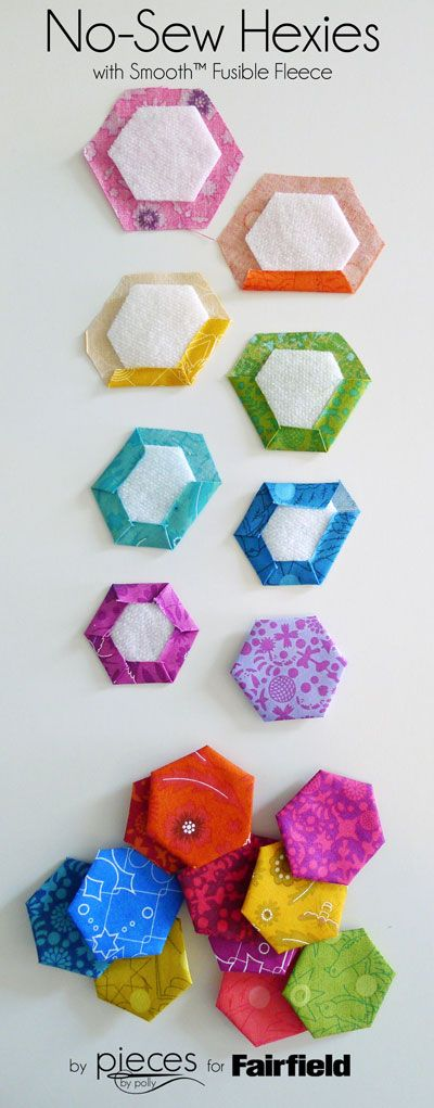 No-Sew Hexies using Smooth fusible fleece