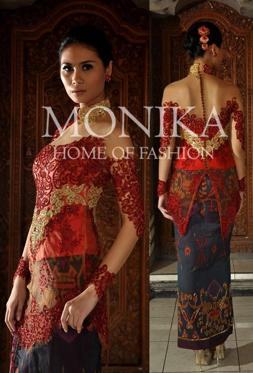 Red & Gold Kebaya with luxury Endek Bali Ikat