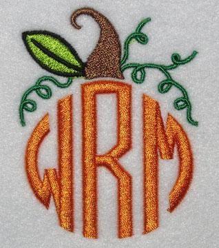 Pumpkin Monograms Frame Embroidery Design | Apex Embroidery Designs, Monogram Fonts Alphabets