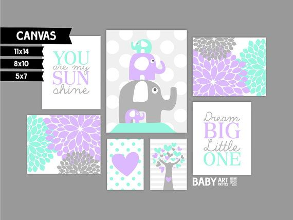 Aqua Mint Purple Grey Girl Nursery canvas art by babyartprints