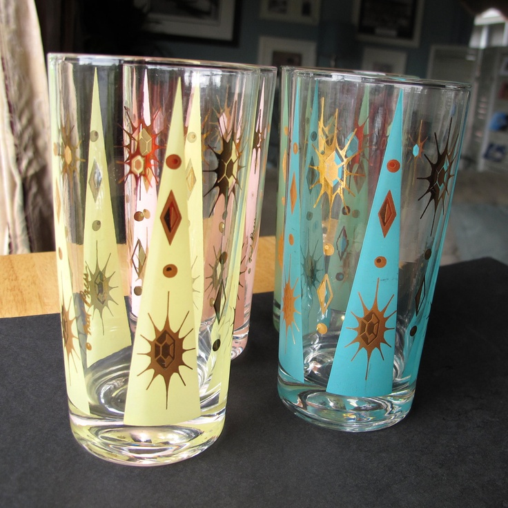 fred press glassware | Vintage Fred Press Cocktail Glasses Retro Fire by RetroBrenda
