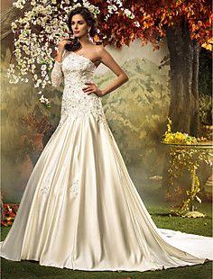 A-line Princess One Shoulder Satin Tulle Wedding Dress – EUR € 121.68