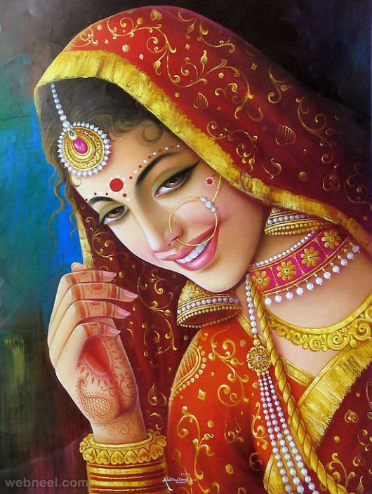 50 Most Beautiful Indian Paintings from top artists for your inspiration | Read full article: http://webneel.com/indian-paintings | more http://webneel.com/paintings | Follow us www.pinterest.com/webneel