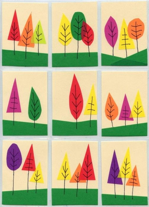 These pretty Autumn trees could be made with construction paper and markers                                                                                                                                                                                 More