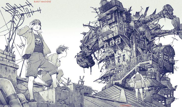 "Inside page of ""CANNABIS WORKS 2 Tatsuyuki Tanaka Art Book"" #TatsuyukiTanaka #JapaneseComic #JapaneseAnimation #Drawing #Comic #Anime"