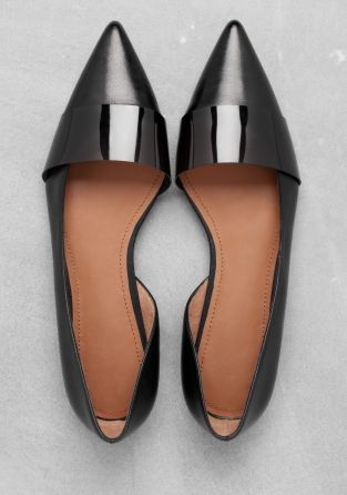 & other stories.  pointy-toe leather with semi-transparent rubber strap & cutaway inner.