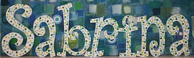 "Curlyz Custom Polka Dot Name  $15.75 per letter  Included on upper case (11"")  www.hungouttobuy.com"