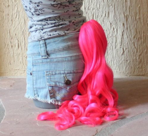 Pinkie Pie pony tail - pink clip on costume cosplay - my little pony costume - friendship is magic - My Little Pony costume. $40.00, via Etsy.