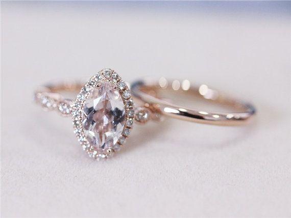 VS Marquise Cut 1.16ct Pink Morganite Ring w/ Matching Band Wedding Ring Set Cushion 14K Rose Gold Morganite Diamond Engagement Ring