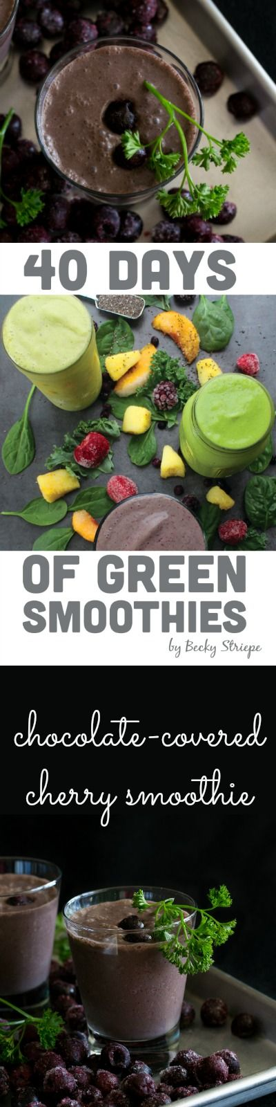 Healthy & delicious Chocolate-covered Cherry Smoothie from 40 Days of Green Smoothies by @glueandglitter. Get the recipe at An Unrefined Vegan.