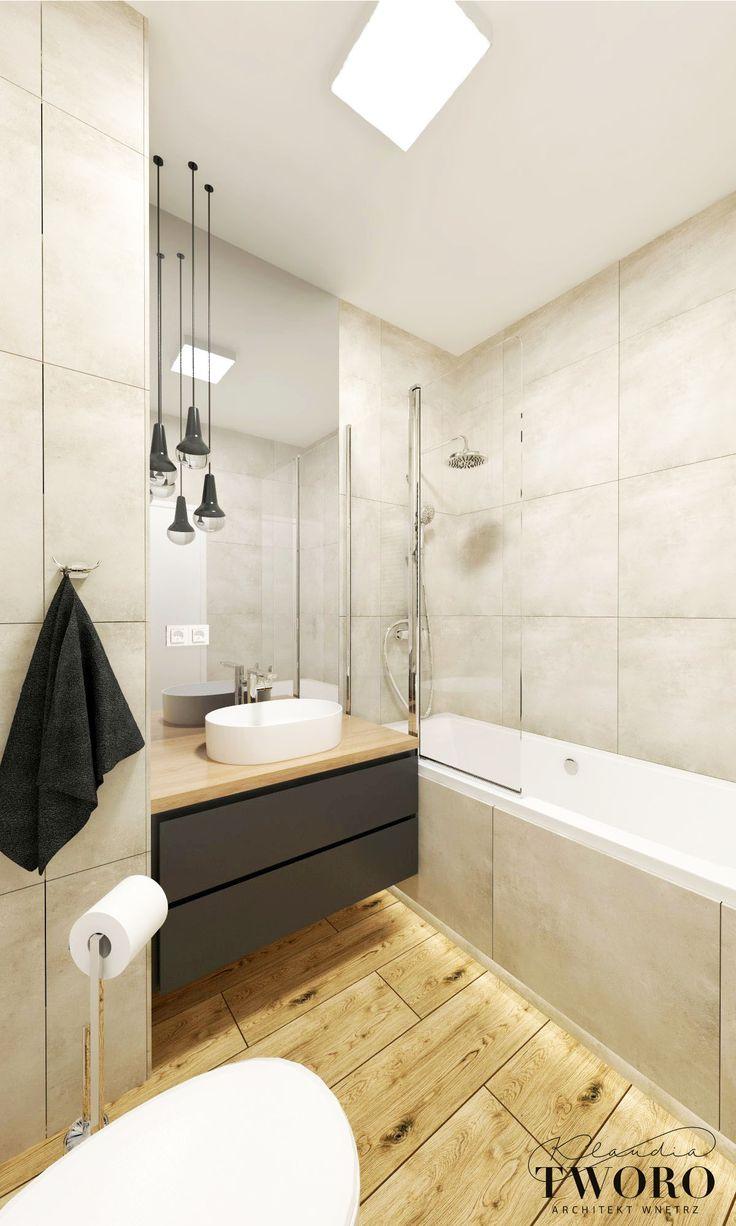 Łazienka drewno, szarosć, beton ,