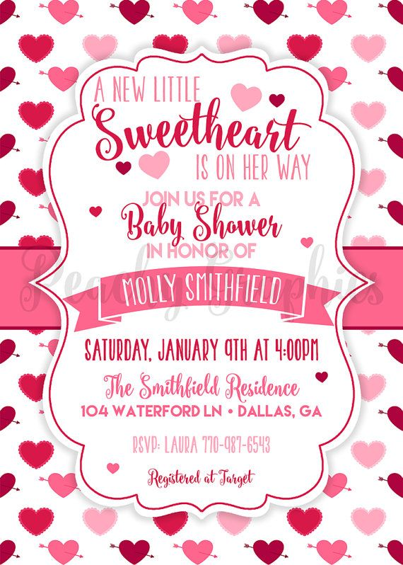 Printable Little Sweetheart Baby Shower by PeachyGraphics on Etsy