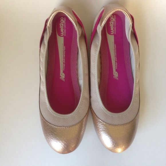 New Balance Ballet flat Walking shoe Casual and chic two toned Gold and pink ballet style walking flat. Memory foam soles. Zero sign of wear. EUC New Balance Shoes