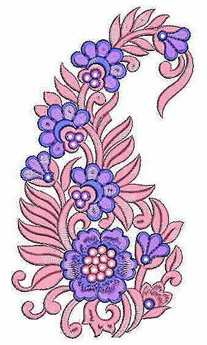 Long Stitch Applique Patch Paisley Embroidery Design