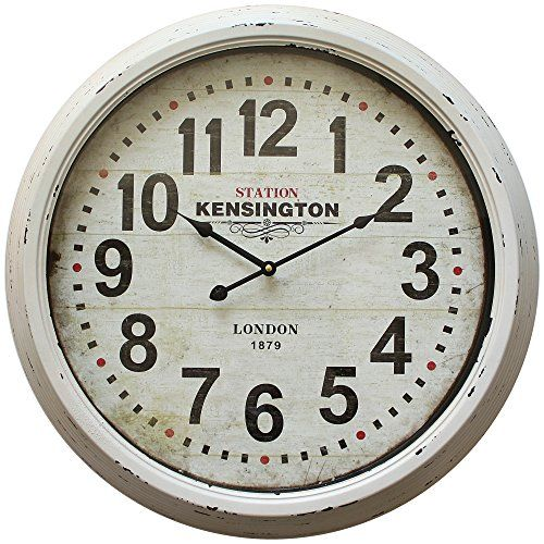 Yosemite Home Decor Circular Iron Skip Movement Wall Clock Distressed White Frame With Glass