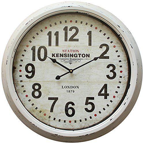 Yosemite Home Decor Circular Iron Skip Movement Wall Clock Distressed White Frame With Glass