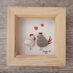Chicken Valentine Gift, Valentine Gift for Her, Pebble Picture, Pebble Art