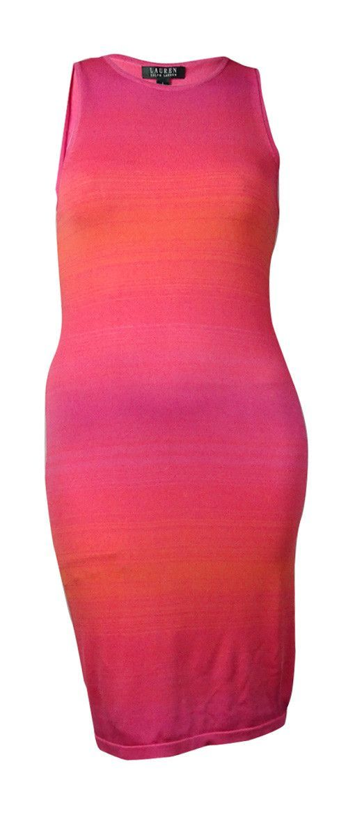 Lauren Ralph Lauren Women's Ombre Sleeveless Sweater Dress (L, Pink Multi)