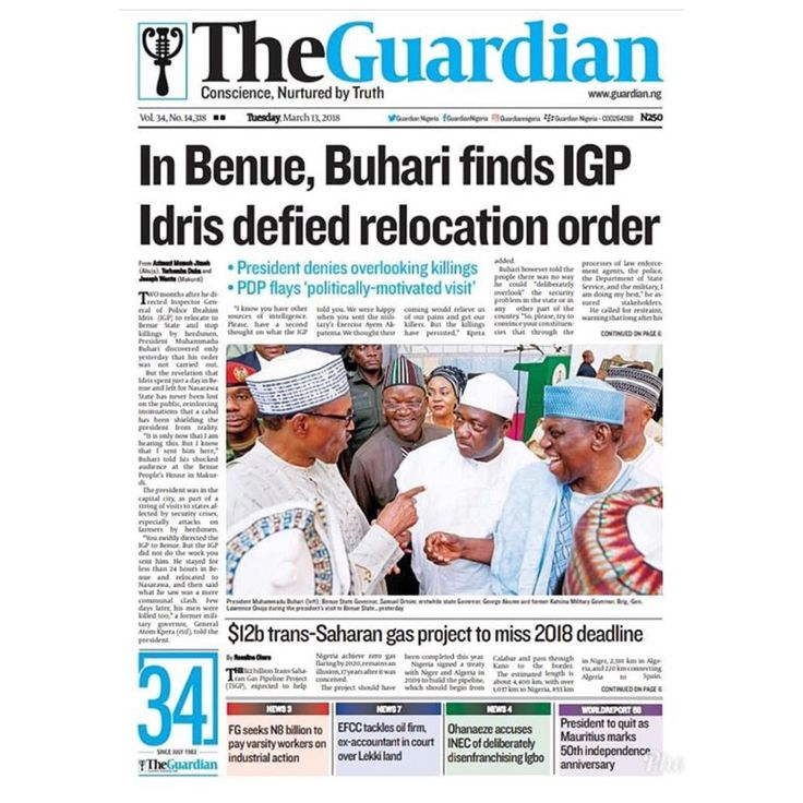 RT @MustardelsMedia: @guardiannigeria - Today in The Guardian  In Benue Buhari finds IGP Idris defied relocation order. #FrontPage #Headline #Business #Politics #Sports #Entertainment #News #Nigeria #Africa #TheGuardianNg #vibrantmeng #AgrofoodNigeria2 http://bit.ly/2ImmqqF