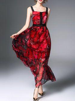 Red A-line Spaghetti Maxi Dress