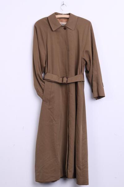 Aquascutum Of London Womens S Long Coat Mac Olive Lylocell - RetrospectClothes
