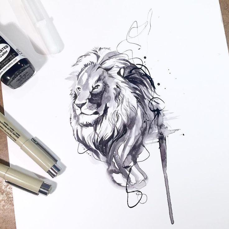 Black and white lion splash  I did a few of these black and white ink drawings…