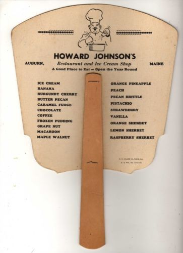 Vintage Howard Johnson's Hotel Restaurant Menu Fan