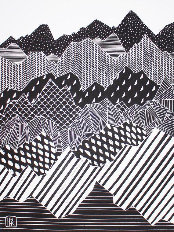 Linograbado de montaña grande-Single color por HannahHunterKelm