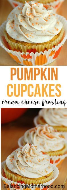 Moist and delicious pumpkin cupcakes with creamy cream cheese frosting. The perfect fall cupcake for dessert. #fall #cupcake #pumpkin a