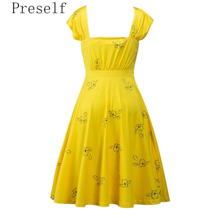 Preself bloemen swing dress vrouwen mode jurken lente zomer nieuwe geel in Preself bloemen swing dress vrouwen mode jurken lente zomer nieuwe geel van jurken op AliExpress.com | Alibaba Groep