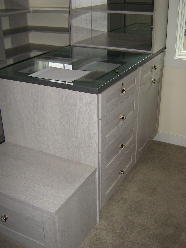 Custom Built Dresser With Glass Peek Through Top, California Closets
