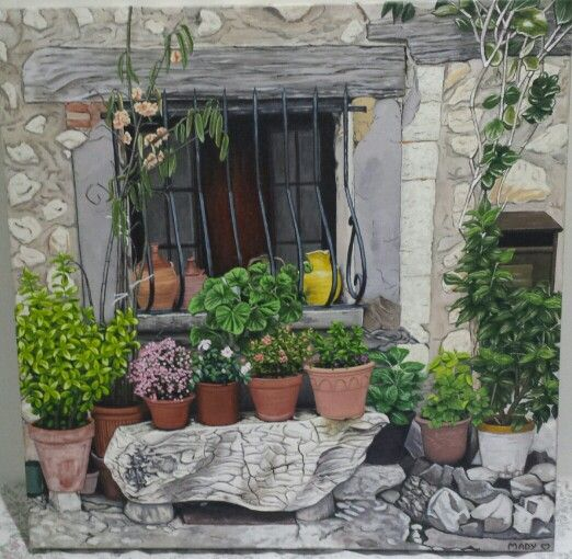 Painting of a French Window- Garden from my travels through France. You will see this in Saint Paul de Vence.