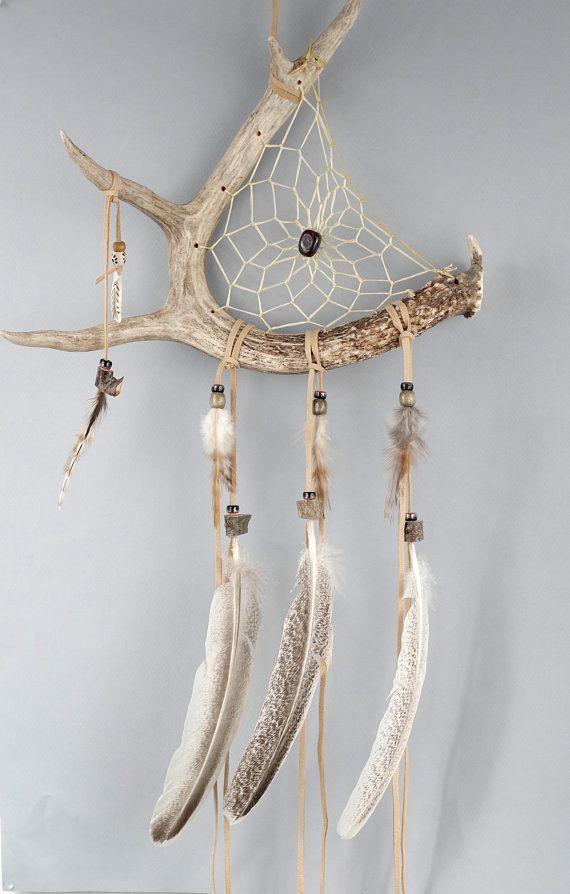 Deer Antler Dream Catcher Rustikaler Traumfänger von MetisArtsJolin #antler #catcher #dream …   – Lederhandwerk